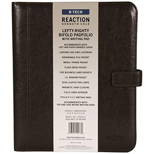 Kenneth Cole Reaction Faux Leather Standard Bifold Writing Pad with Business Organizer, Brown by Kenneth Cole REACTION (Image #1)