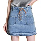 New And Hot Summer NEW High Waist Pleated Clothing With Pockets And Tape Slim And Wild Denim Skirt Faldas Mujer Sky Blue L