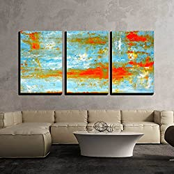 "wall26 - 3 Piece Canvas Wall Art - Teal and Orange Abstract Art Painting - Modern Home Decor Stretched and Framed Ready to Hang - 24""x36""x3 Panels"