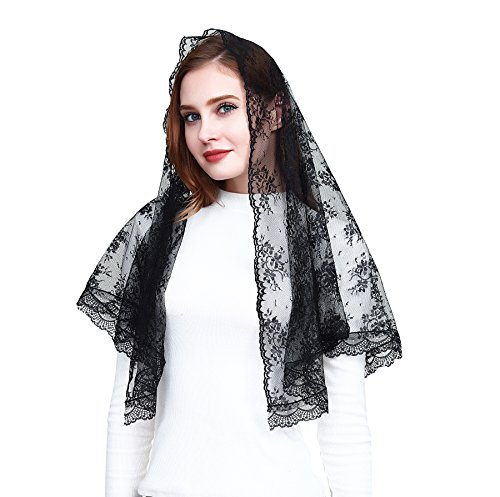 Black Hotsale Chapel Church Veil Lace Catholic Mantilla infinity veil v44 (Veil)