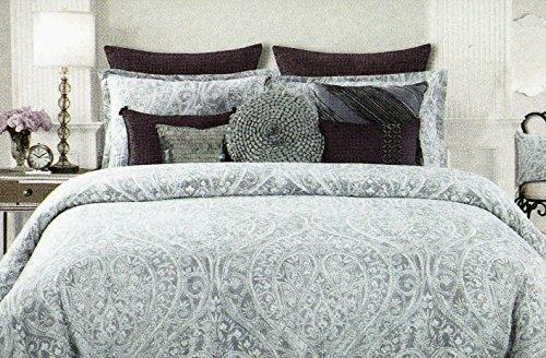 Tahari Home silver grey paisley queen comforter 6 piece set