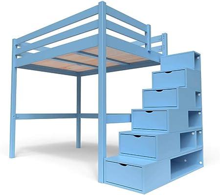 ABC MEUBLES - Cama Alta Sylvia con Escalera Cubo - Cube - Azul pálido, 140x200: Amazon.es: Hogar