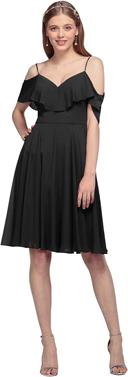 AW BRIDAL Ruffled Chiffon Short Bridesmaid Dresses for Women Plus Size Cocktail Party Dresses
