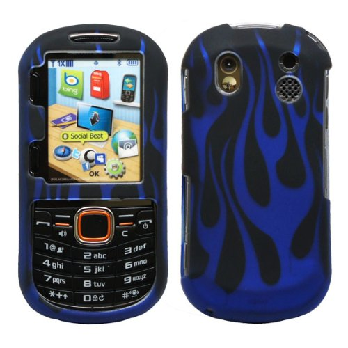 - Black Blue Flame Design Snap on Rubberized Hard Plastic Cover Protector Faceplate Skin Case for Verizon Samsung Intensity 2 II U460 + Lcd Screen Guard Film