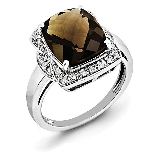 Sterling Silver Polished Cushion Cut Rhodium-plated Checkerboard-cut Diamond and Smokey Quartz Ring - Size 7 (Checkerboard Smokey Quartz)
