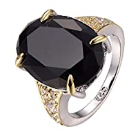 Black onyx White Sapphire 925 Sterling Silver Filled Ring Size 6 7 8 9 10 F1302