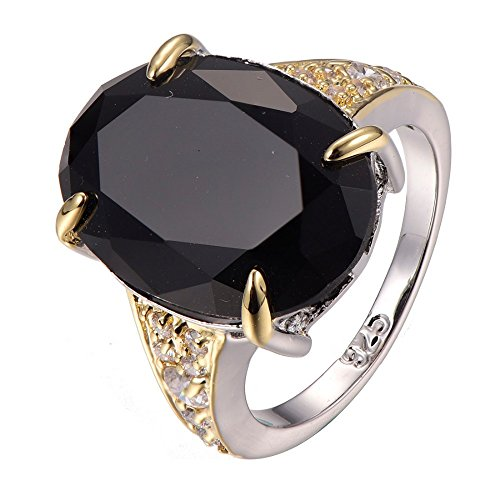 Black-onyx-White-Sapphire-925-Sterling-Silver-Filled-Ring-Size-6-7-8-9-10-F1302