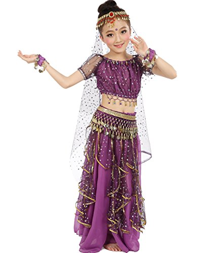 [Astage Big Girls` Belly Dance Carnival Dancing Dress Purple S-M] (Purple Belly Dance Costume)