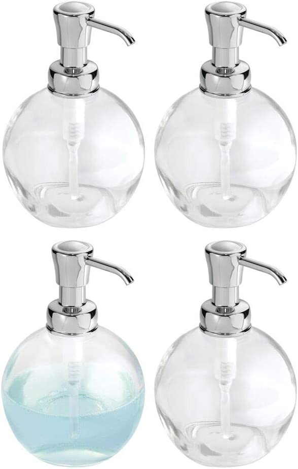 mDesign Round Glass Refillable Liquid Soap Dispenser Pump Bottle for Bathroom Vanity Countertop, Kitchen Sink - Holds Hand Soap, Dish Soap, Hand Sanitizer, Essential Oils - 4 Pack - Clear/Chrome