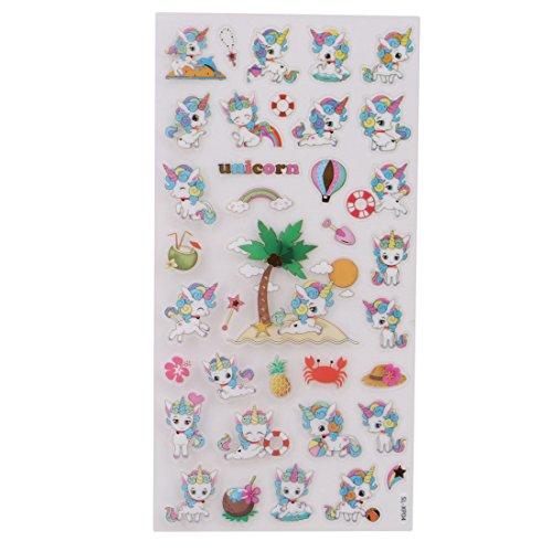VWH Cartoon 3D Unicorn Wall Stickers Adhesive DIY Decoration Diary Stickers (Beach)
