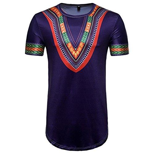 African Top Blouse, Beautyfine T-Shirt Men's Summer Casual Print O Neck Pullover Short -