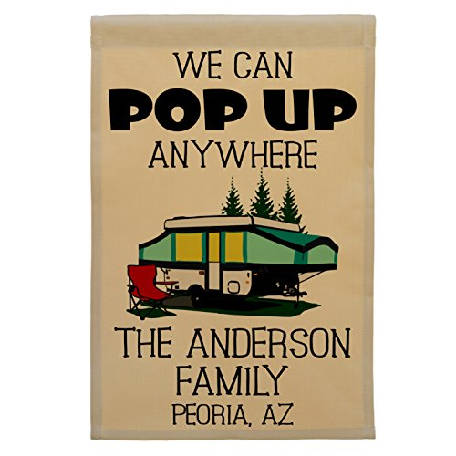 We Can Pop Up Anywhere Pop-up Camper Personalized Campsite Flag, Customize Your Way (Green Pop-up)