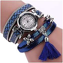 Wensltd Women's Rhinestone Analog Quartz Wrist Watch With Ethnic Style (purple)