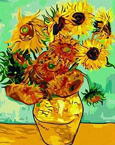Diy painting, paint by number kit- worldwide famous oil painting Vase with Twelve Sunflowers by Van Gogh 16*20 (Acrylic Paint Van Gogh)