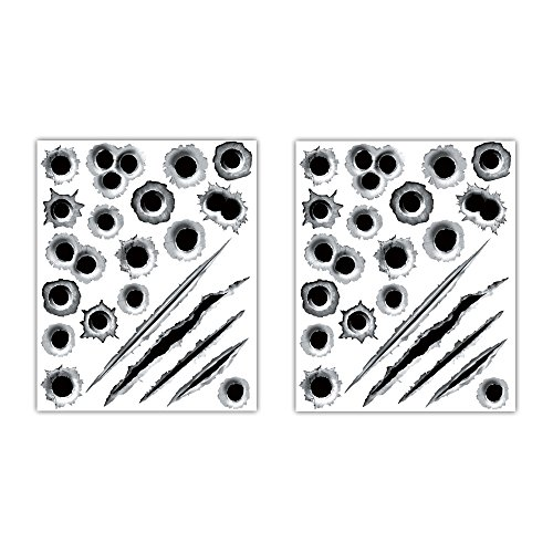 1797 Car Stickers Decals Bullet Holes 3D Sticker Scars Scratches Car Accessories Decoration Waterproof Trucks Vehicle Fade Funny Horrifying Front Rear 11.4''x9'' 2pcs -