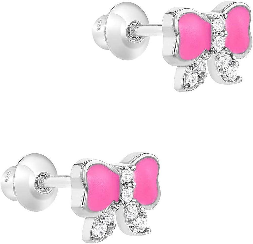 Zircone Cubique Tiges poussettes s/écurit/é /à vis Boucles doreilles In Season Jewelry Filles Argent 925//1000