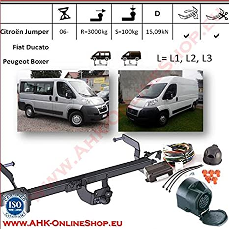AHK Remolque con eléctrico de 13 pines para Citroen Jumper/PEUGOT ...
