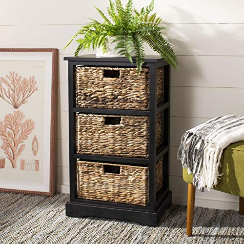 Safavieh American Homes Collection Halle Distressed Black 3 Wicker Basket Storage Side Table (Wicker Small Drawers)