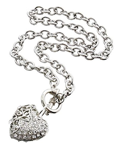 (Shoppe23 Heart Pendant Necklace Silver Plated Front Toggle Closure 18