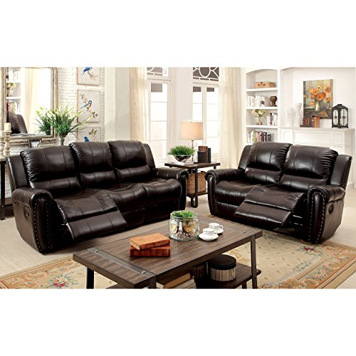 Furniture of America Clemmy 2-piece Reclining Brown Top Grain Leather Sofa Set