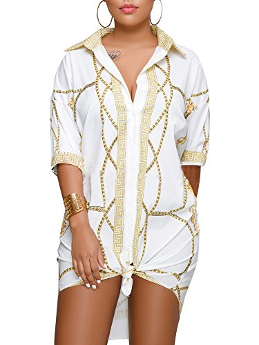 YouSun Women's Sexy Floral Print Button Down Middle Sleeve Collar Loose T-Shirt Blouse Tops Mini Dress
