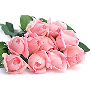 FiveSeasonStuff 10 Stems of Real Touch Silk Roses 'Petals Feel and Look like Fresh Roses' Artificial Flower Bouquet for Wedding Bridal Office Party Home Decor 8