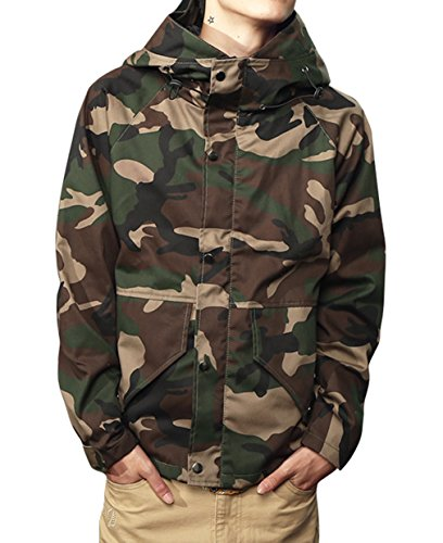 Embroidered Golf Windbreaker (Mada Men's Camouflage Hoodie Military Jacket Zip-up Outdoor Parka Coat Asian)