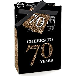 Big Dot of Happiness Adult 70th Birthday - Gold - Birthday Party Favor Boxes - Set of 12