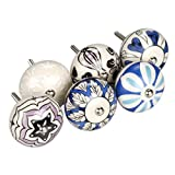 31 2 white cabinet pulls - uxcell 6 Pieces Vintage Shabby Chic Knobs Blue and White Floral Hand Painted Ceramic Pumpkin Cupboard Wardrobe Cabinet Drawer Door Handles Pulls Knob, Mixed Color #2