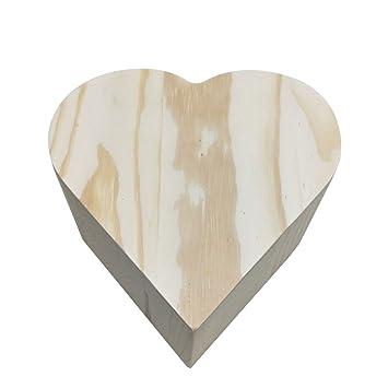 Hacoly Cajas de Regalo de Madera sin Pintar, Caja de Regalo en Forma de corazón