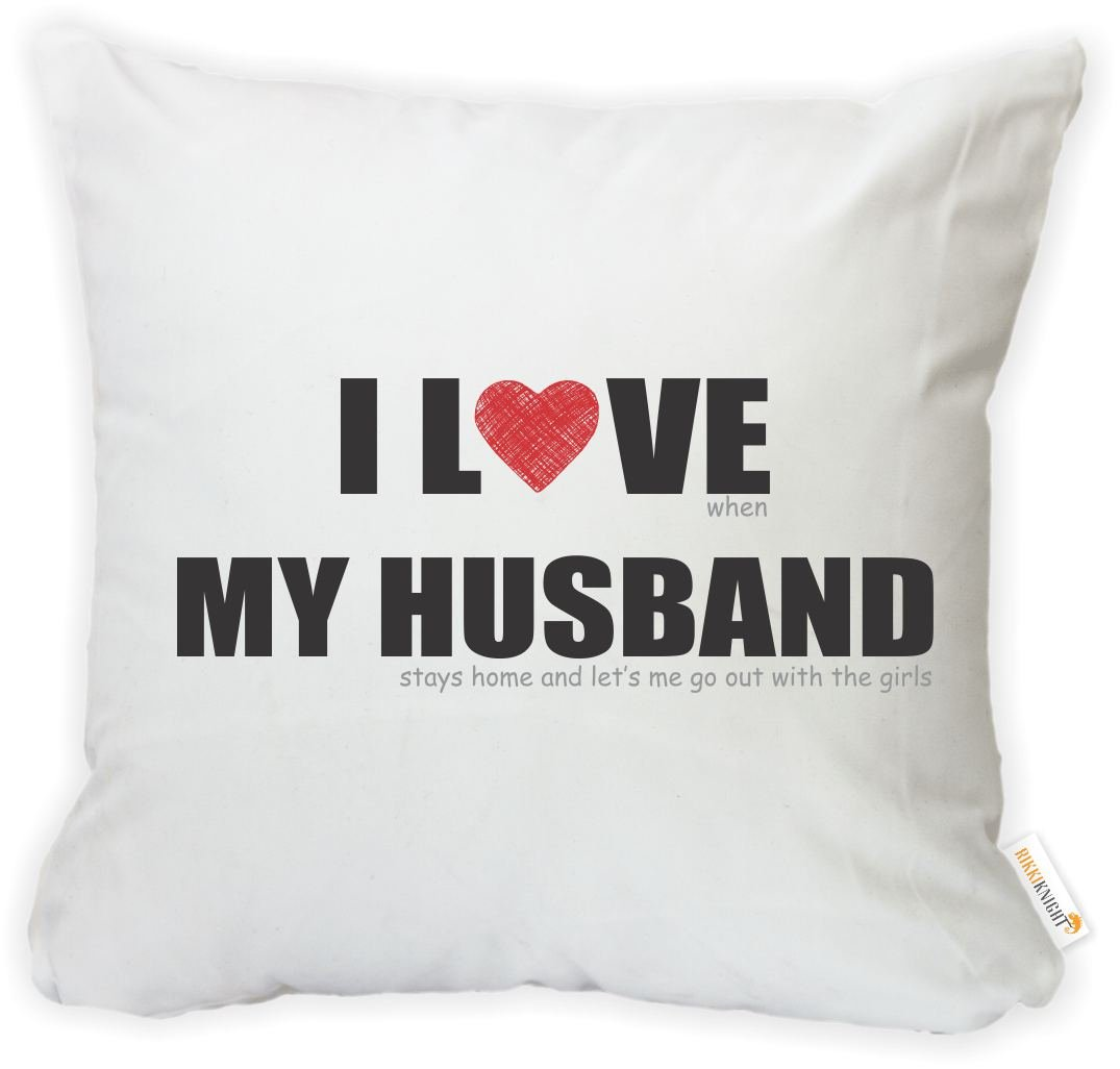 Insert Included Go Out with The Girls Microfiber Throw Pillow Cushion Square with Hidden Zipper - Printed in The USA Rikki Knight 16 x 16 inch Rikki KnightI Love My Husband