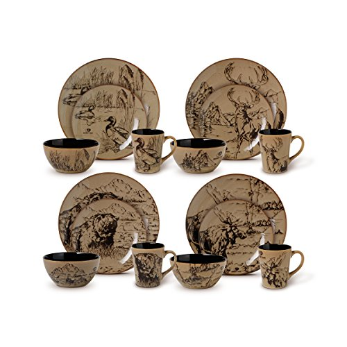 Mossy Oak 16-Piece Break-Up Infinity Dinnerware Set, Service