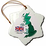 3dRose orn_165731_1 Flag and Map of United Kingdom of Great Britain and Northern Ireland Snowflake Ornament, Porcelain, 3-Inch