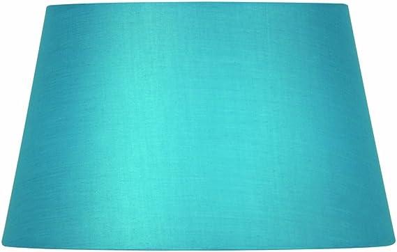 Imagen deOaks Lighting - Pantalla cilíndrica para lámpara (algodón, 30,5 cm), color azul