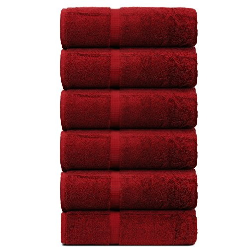 BC BARE COTTON Luxury Hotel & Spa Towel Turkish Cotton Hand Towels - Cranberry - Dobby Border - Set of 6