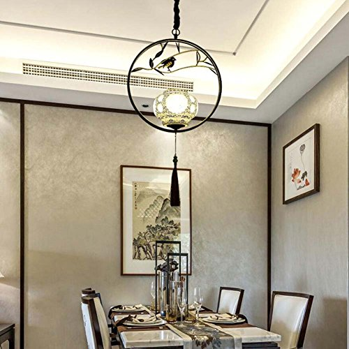 Mamrar Pendant Lamp Chinese Iron Chandelier Ceramic Shade + Tassel Pendant Carved Deco Hanging Light
