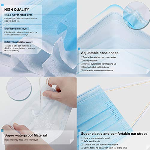 YXGZI Disposable Face Mask 3Ply with Filter Cotton Elastic Earloop 50Pcs