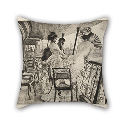 Slimmingpiggy Oil Painting James Joseph Tissot - The Gallery Of H.M.S. Calcutta (Souvenir Of A Ball On Shipboard) Throw Cushion Covers 20 X 20 Inches / 50 By 50 Cm Best Choice For Home,kids Girls,c