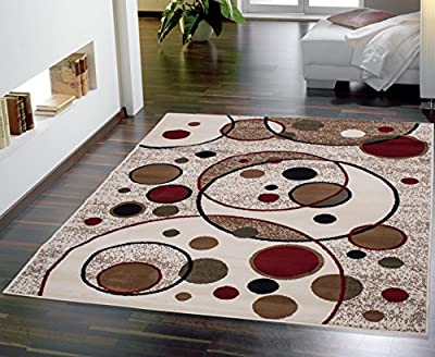 Beige Color Modern Circles Design Area Rug