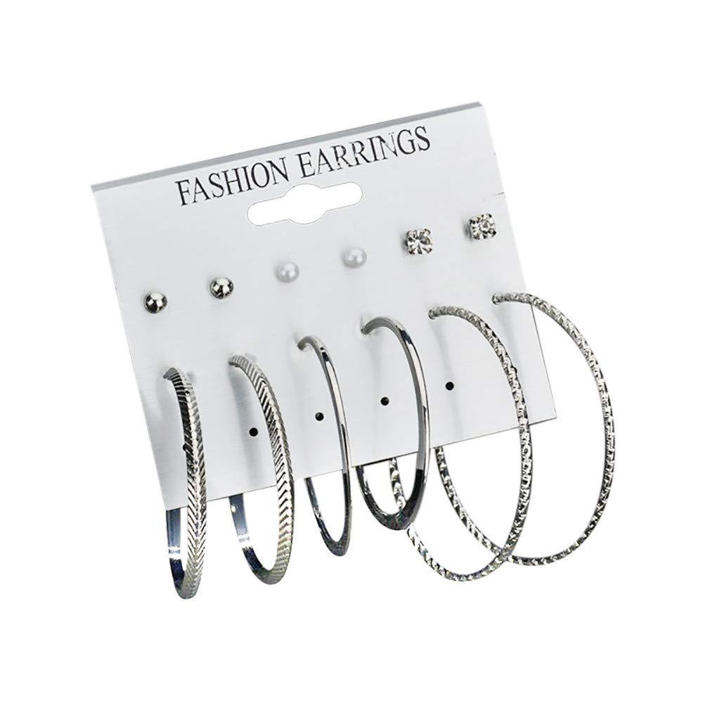 FEDULK 6 Pairs Hoop Earrings Ear Studs Set Big Circle Earring Fashion Jewelry for Women Girls(B)