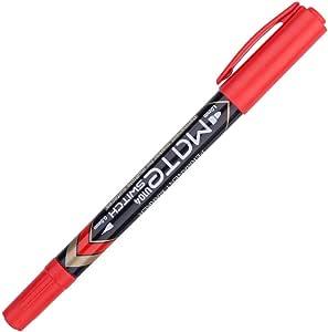 قلم تعليم دائم برأسين بتصميم نصفين قياس | كتابة ناعمة | مقاوم للبهتان | لون كتابة ساطع | لون جاف سريع: أسود/أزرق/أحمر