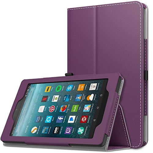 MoKo Case for All Amazon Fire 7 Tablet (7th Generation, 2017 Release Only) - Slim Folding Stand Cover Case for Fire 7, Purple (with Auto - Purple Tablet Case Inch 7