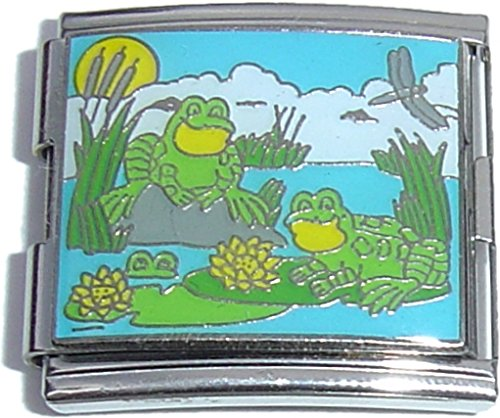 (Mega Frogs In A Pond Italian Charm (18mm Double Size Charm))