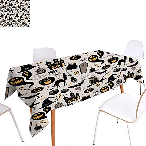 familytaste Vintage Halloween Washable Tablecloth Halloween Cartoon Jack o Lantern Tombstone Skulls and Bones Waterproof Tablecloths 60