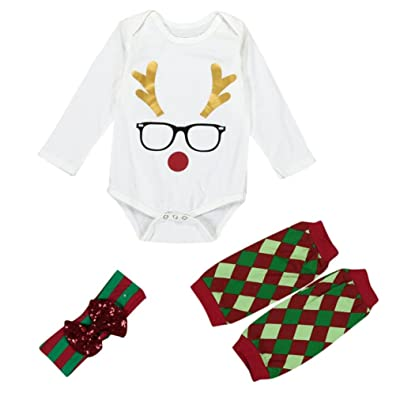 Coper 3pcs Outfits Christmas Baby Girl Deer Romper Leg Warmers Headband