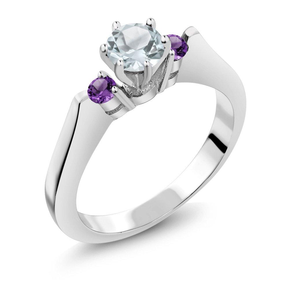0.57 Ct Round Sky Blue Aquamarine Purple Amethyst 925 Silver 3-Stone Ring
