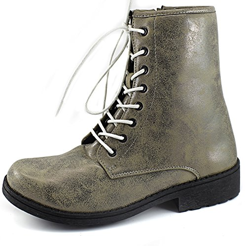 Qupid MISSILE-04 / SOURCE-03X Mock Dr. Martens Inspired Lace Up 1460 Style Combat Boot Taupe Brz Boots, Ivory Lace