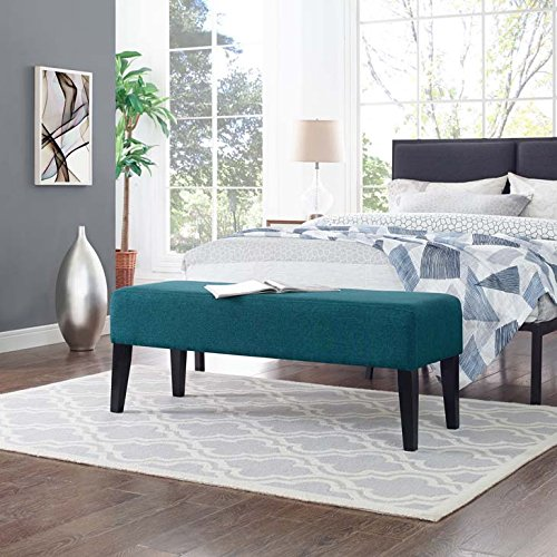 Modway Connect Plush Polyester Upholstered Contemporary Bench in Teal