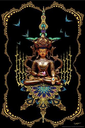 Buddha On Peacock Throne Fractal Spirit Art Print Poster 24x36 inch