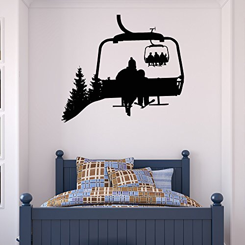 (Ski Lift Wall Decal Skiers Decals Snowboard Winter Sport- Ski Lift Chair Wall Decal- Skiing Sports Decal Bedroom Kids Mountain Decor C130)